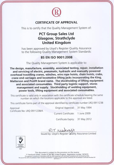 Certificate of Approval: BS EN ISO 9001:2008
